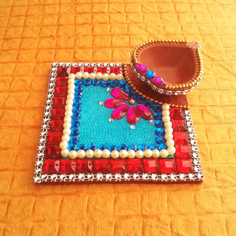 Decorative kundan diya plate online shopping for diyas for Art and craft for diwali decoration