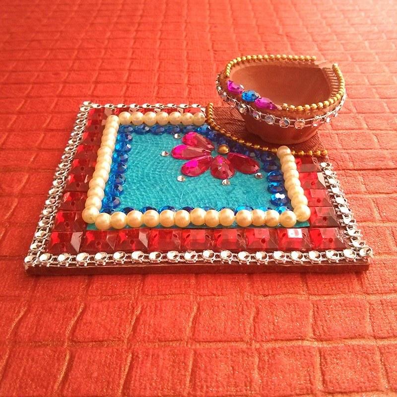 Bulk 100 kundan diya plate decorative diya wedding for Art and craft diya decoration
