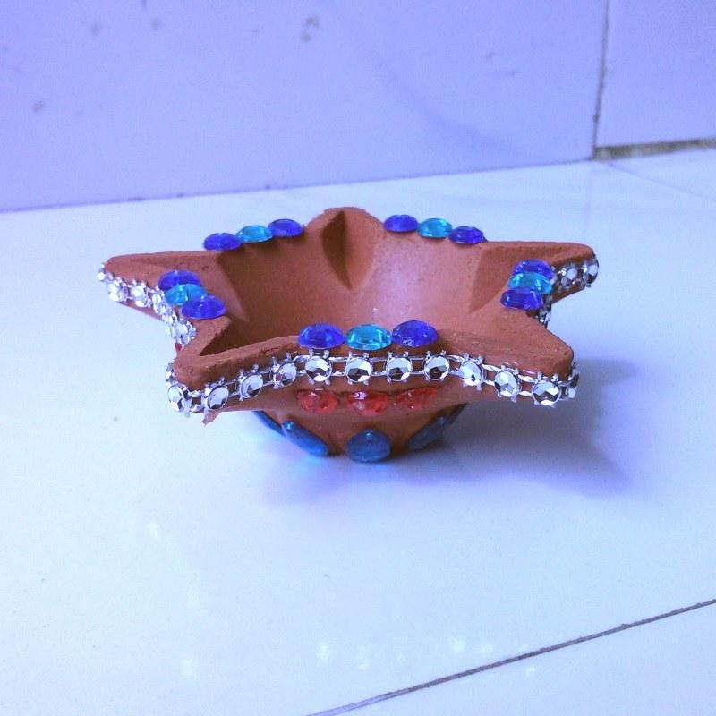 Decorative diya star shape 2 online shopping for diyas for Art and craft diya decoration