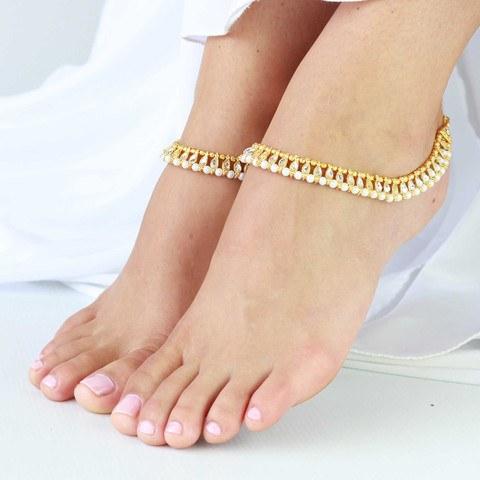 Gold Plated Designer Pearl Kundan Anklet Payal Pair