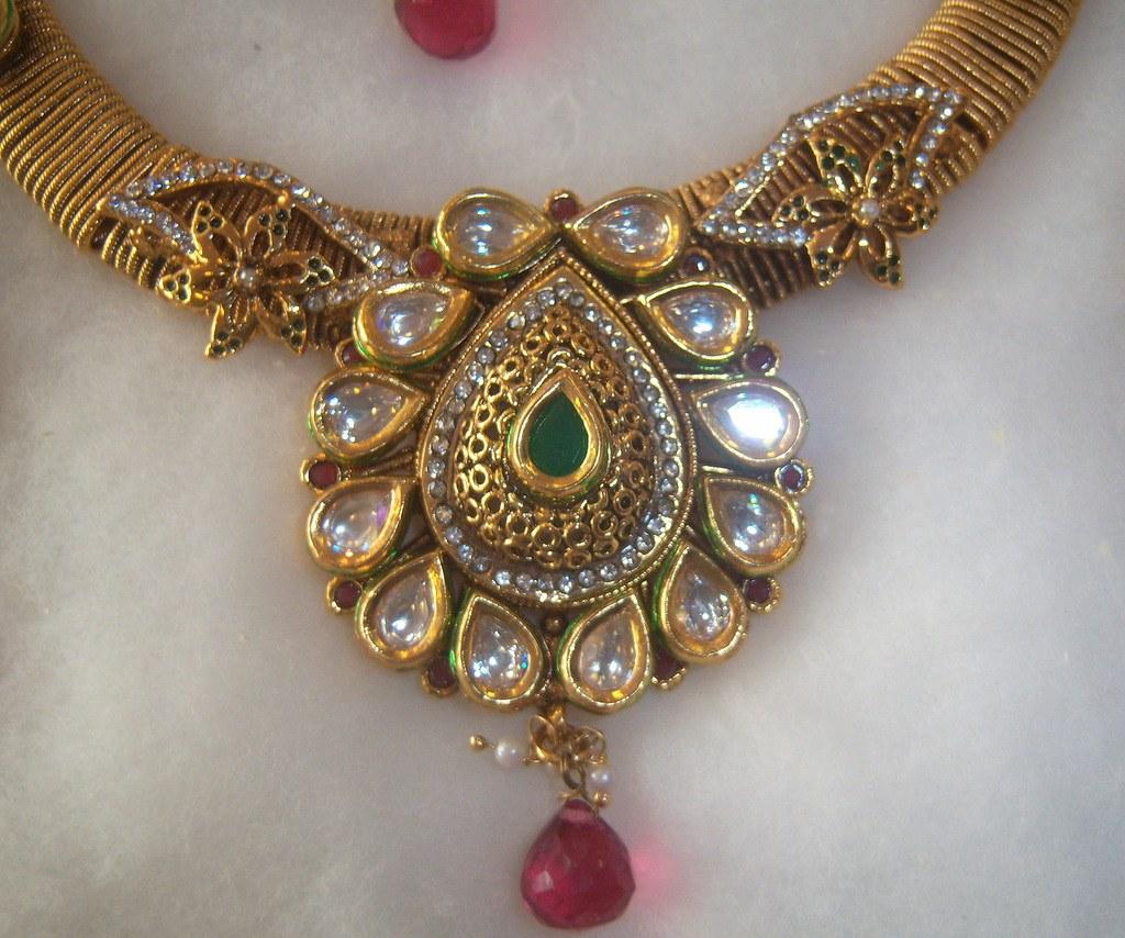 New Necklace Earring Set Gold Polki Jewellery Indian: GOLD Plated Hasli Design Ruby Green KUNDAN NECKLACE POLKI