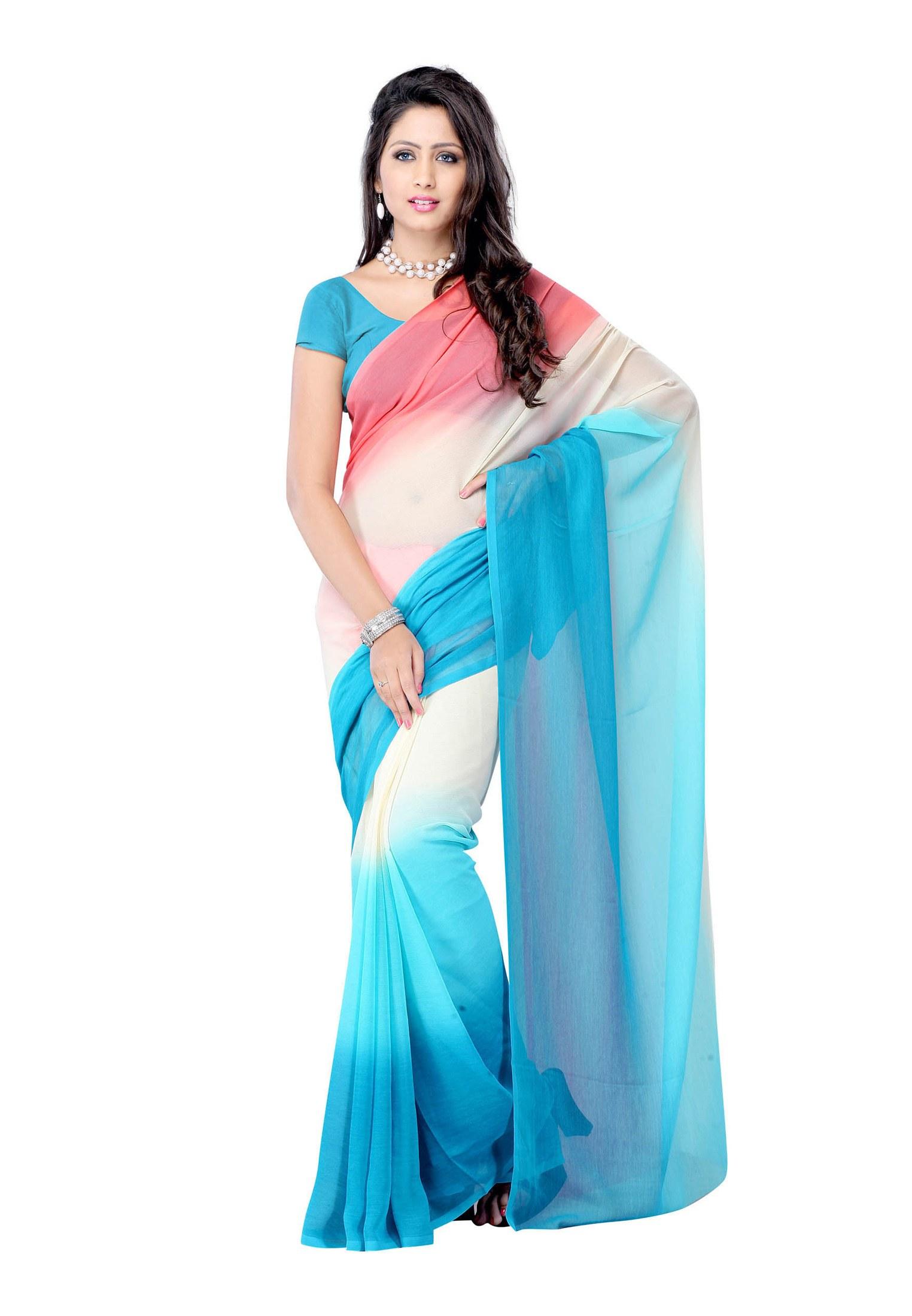 fabdeal sky blue colored chiffon plain saree online shopping. Black Bedroom Furniture Sets. Home Design Ideas