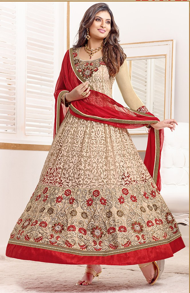 Sayali Bhagat Georgette Beige Semi Stitched Anarkali Suit