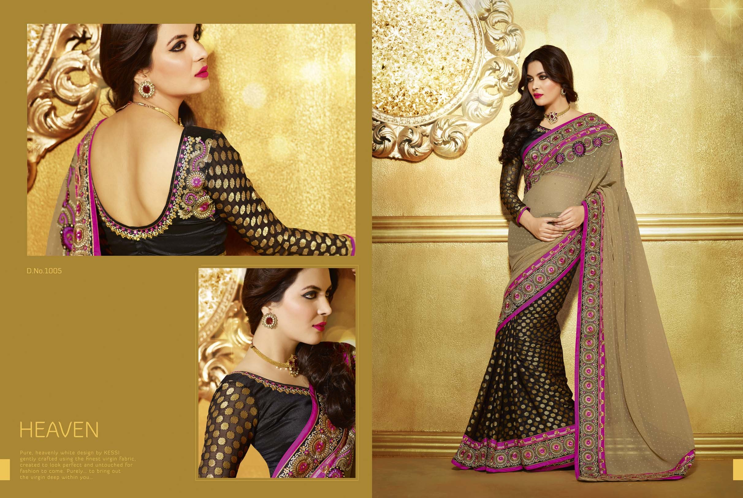 Indian Designer Bollywood Replica Actress In Chikoo Black Saree 1229 Available At Craftsvilla
