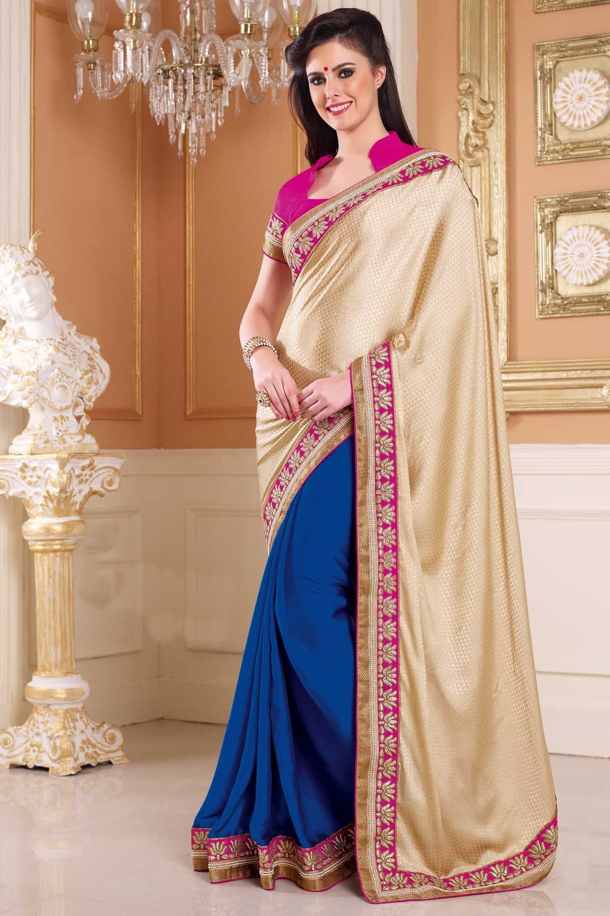 Indian Designer Bollywood Replica Actress In Chikoo Royal Blue Saree 1207 Available At