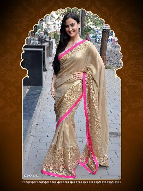 Indian Designer Bollywood Replica Actress In Golden Beauty Saree 1164 Online Shopping 4