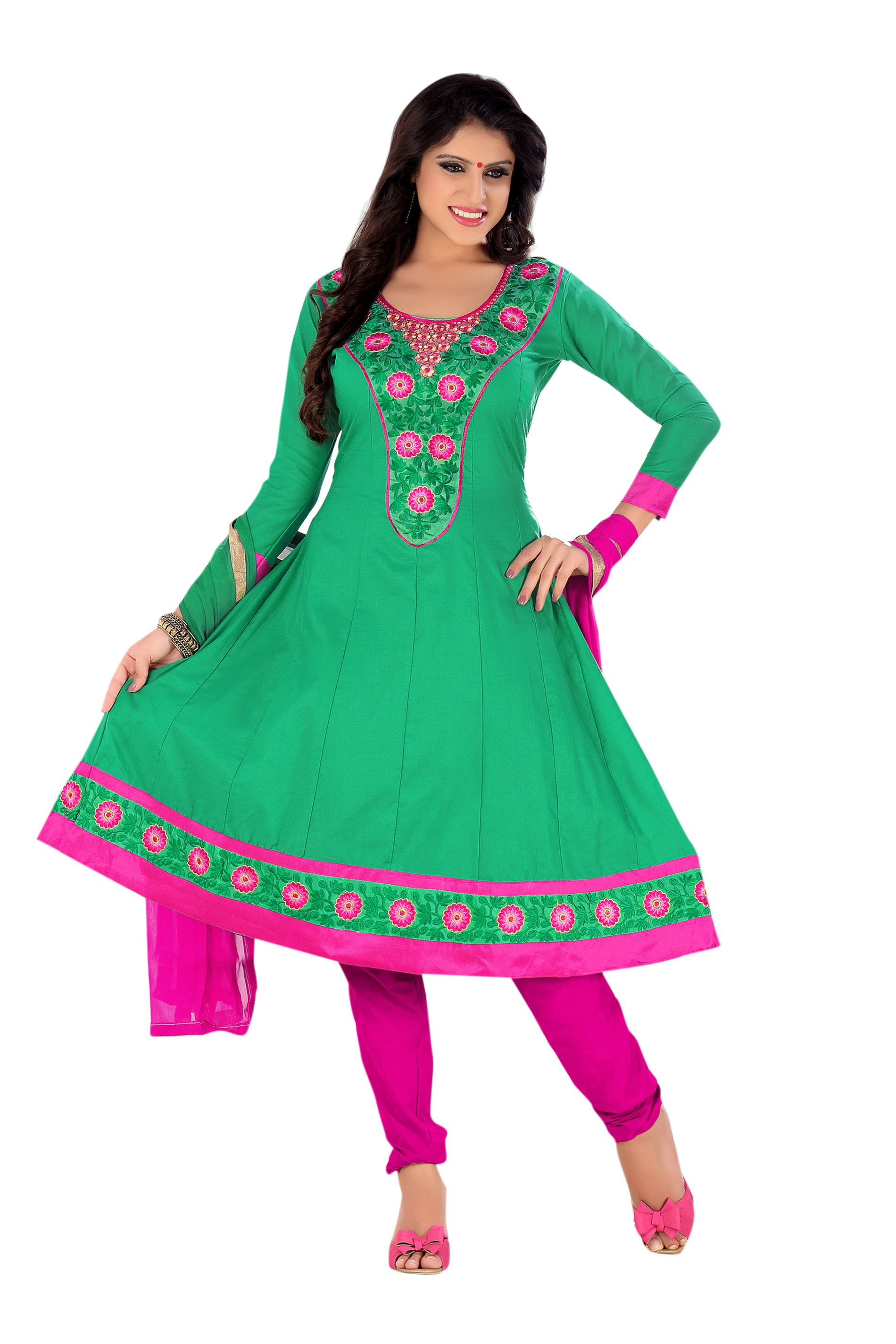 Florence green ragini embroidered cotton suit online shopping