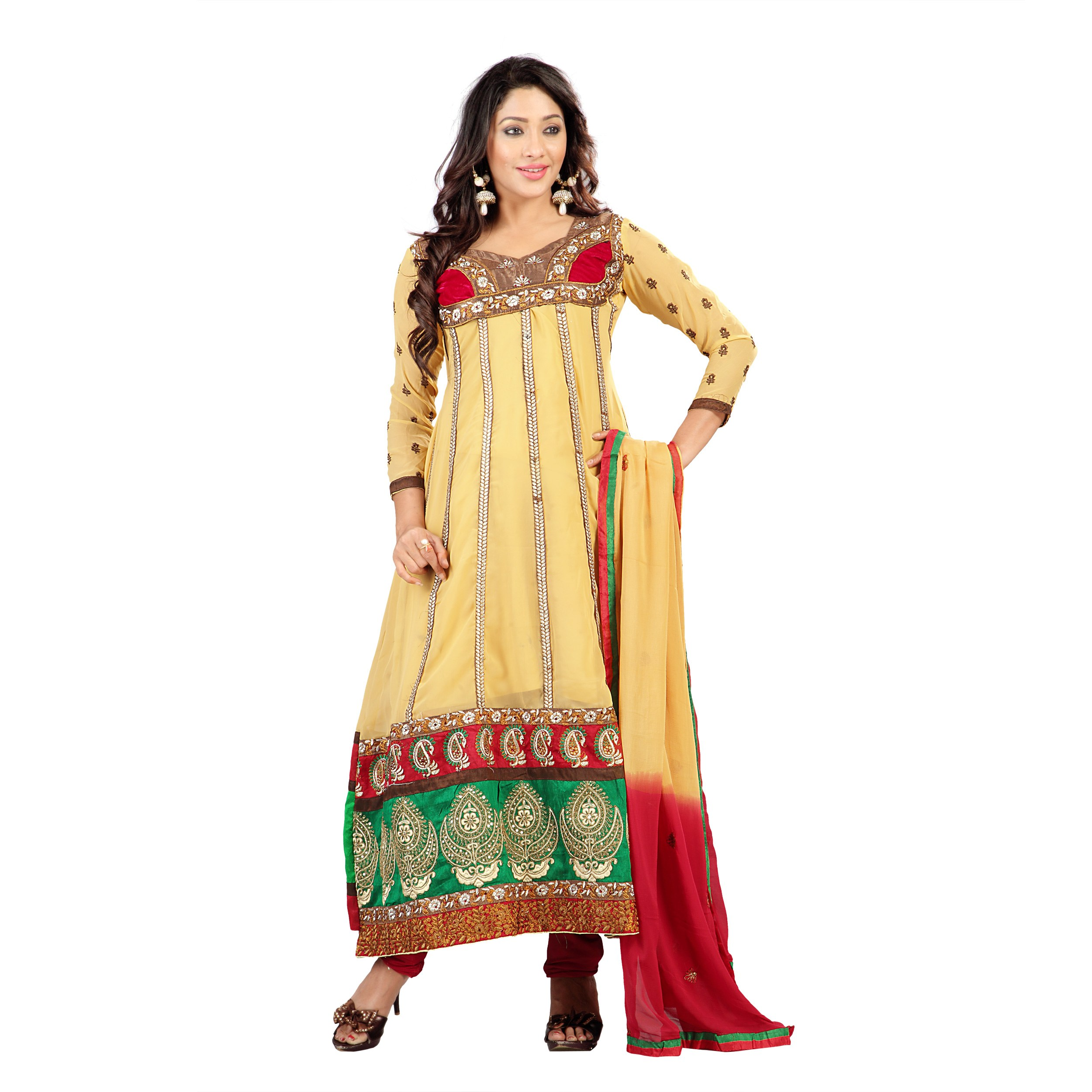 Florence yellow georgette embroidered suit online shopping