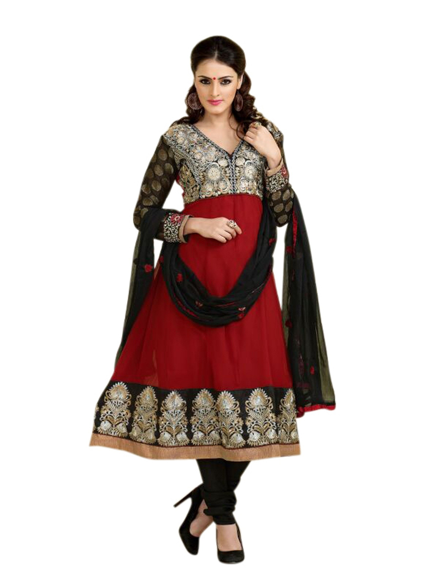 Florence red janu georgette embroidered suit online shopping