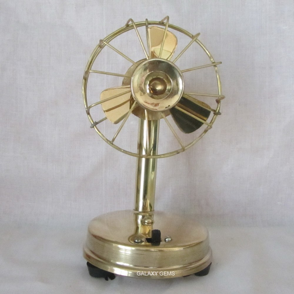 Brass table fan handicrafts home decor gifts miniatures for Home decorations fan