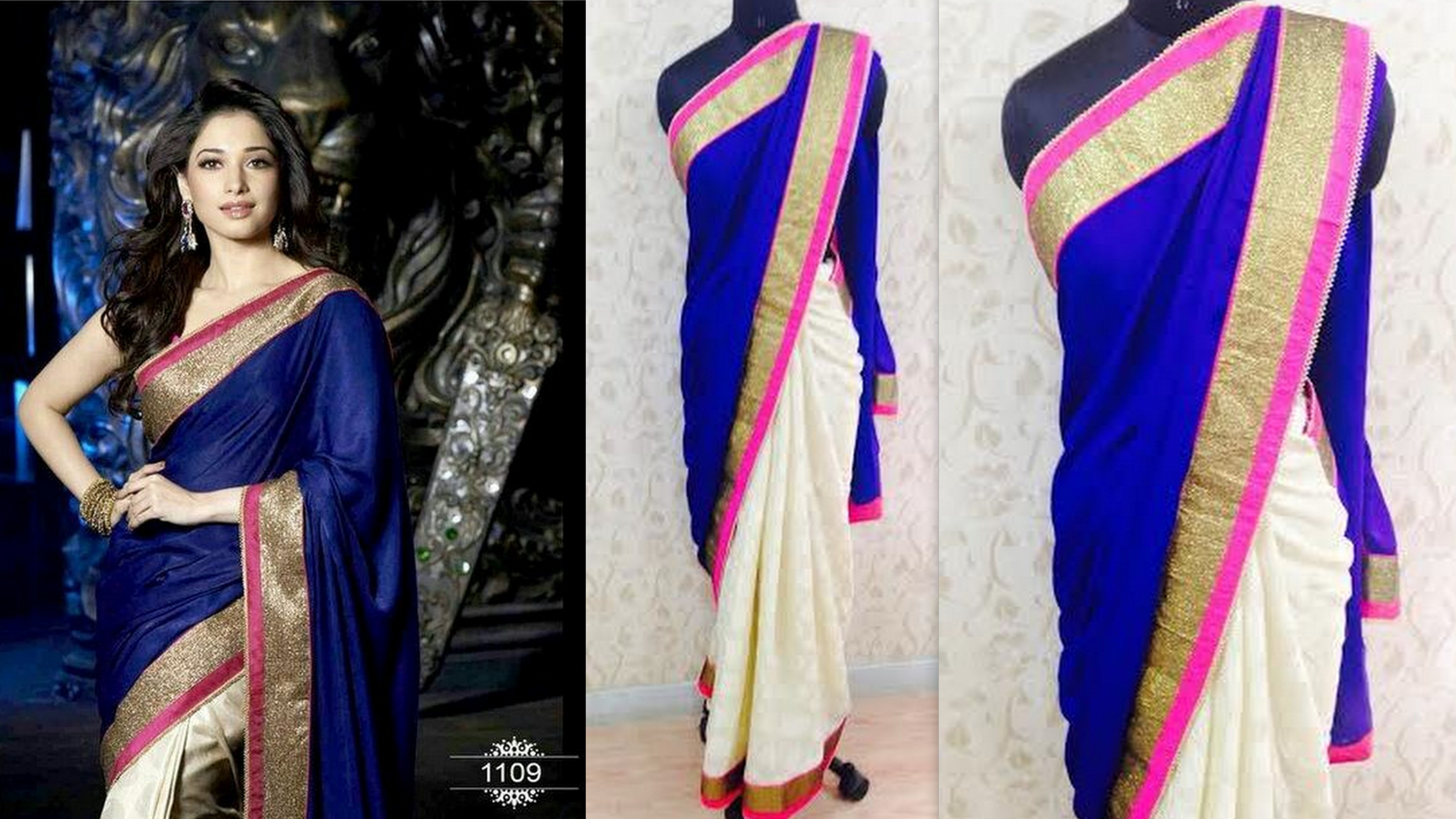 Tamanna In Tadakha Halfsaree: Tamanna Royal Blue Saree KS-08-Online Shopping
