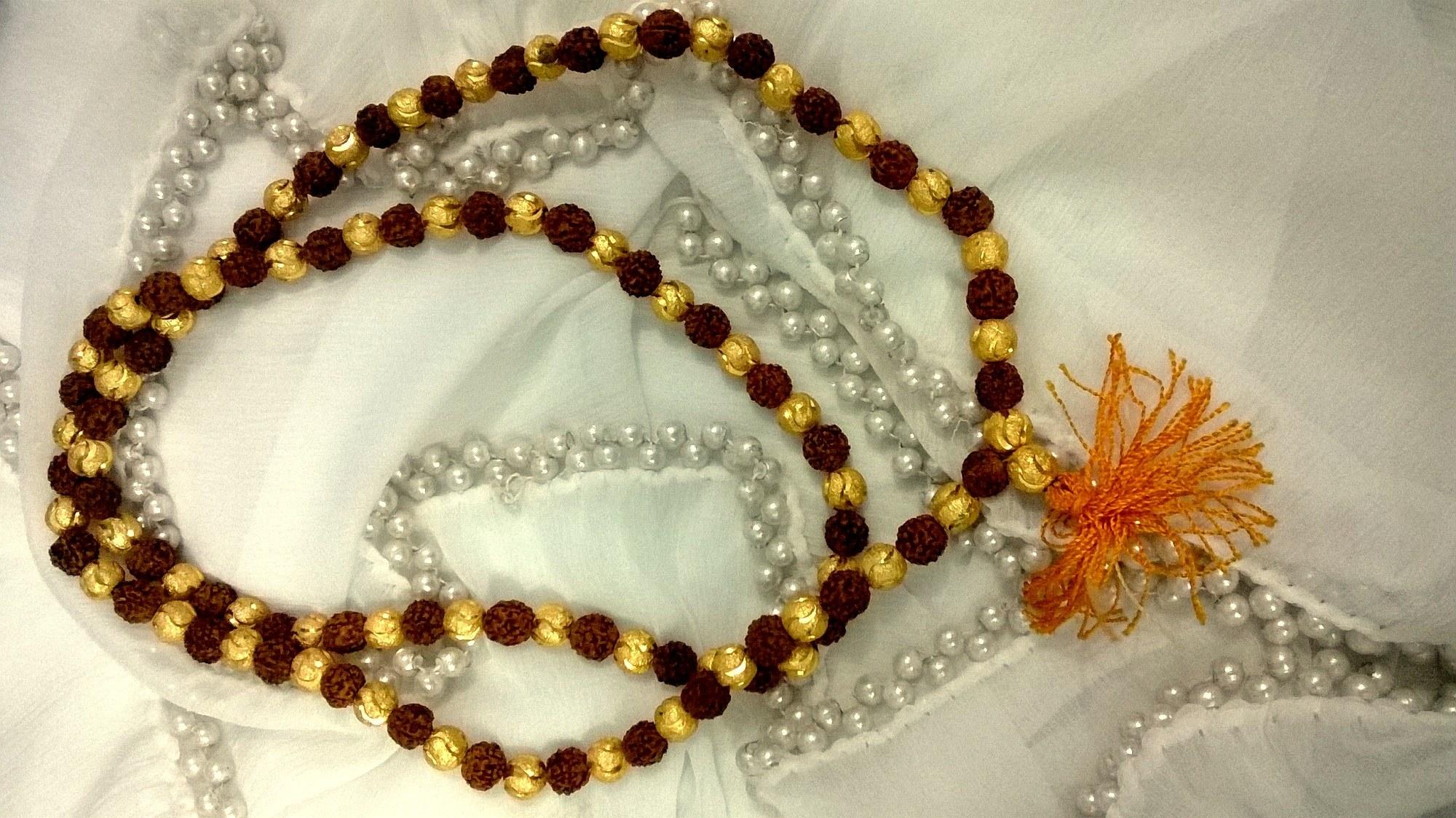 Rudraksha mala in gold online shopping