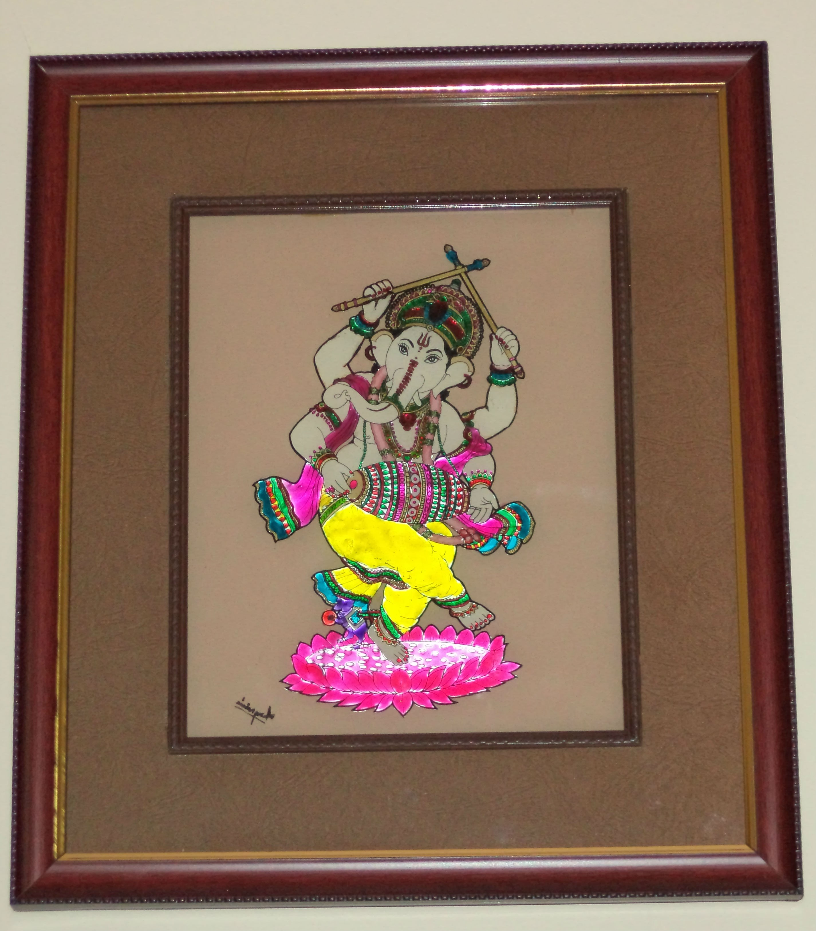 Lord Ganesha Glass Paintings Ganesha Glass Painting