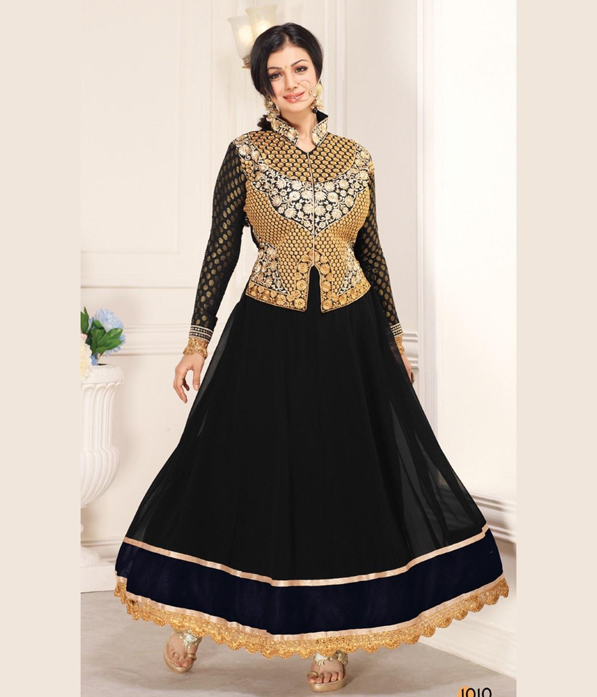 Black Color Embroidery Designer Anarkali Suit Online
