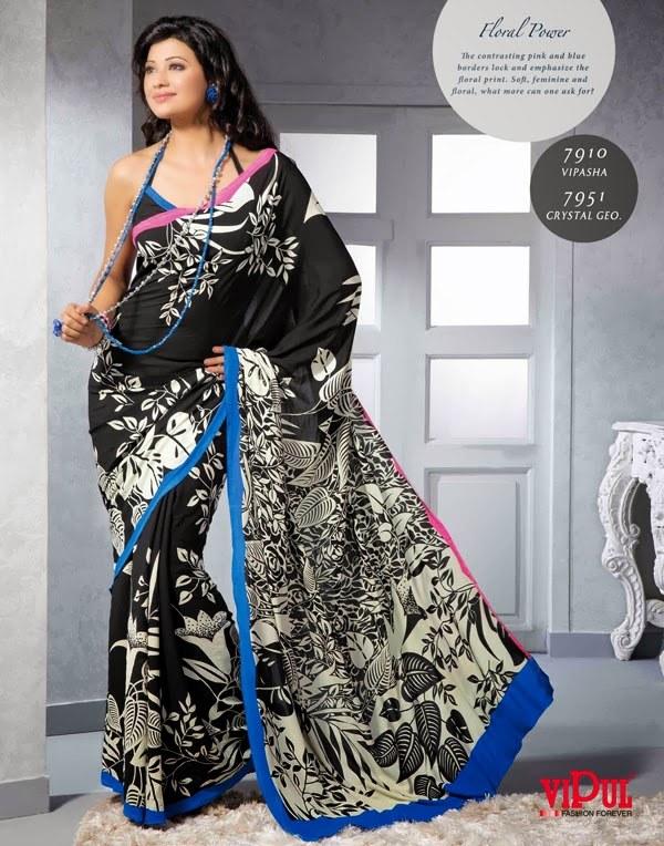 Designer Printed Saree In Black And White Combination