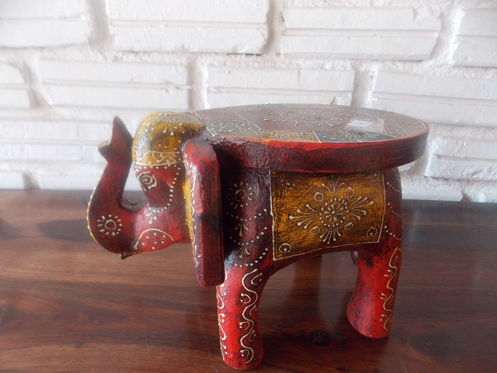 Induscraft Hand Painted Small Elephant Stool Online Shopping For Outdoor Decor By Induscraft