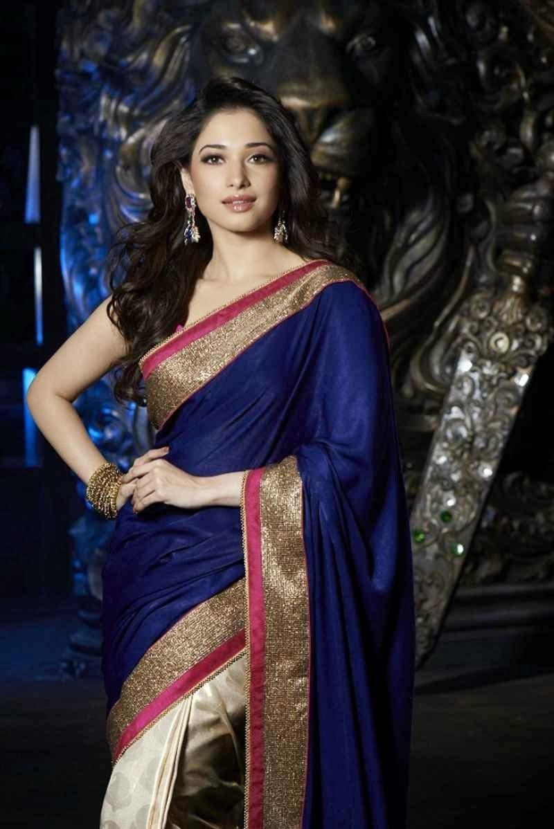 Tamanna Saree Gulte: Tamanna's Royal Blue Half-Half Saree-Online Shopping-4