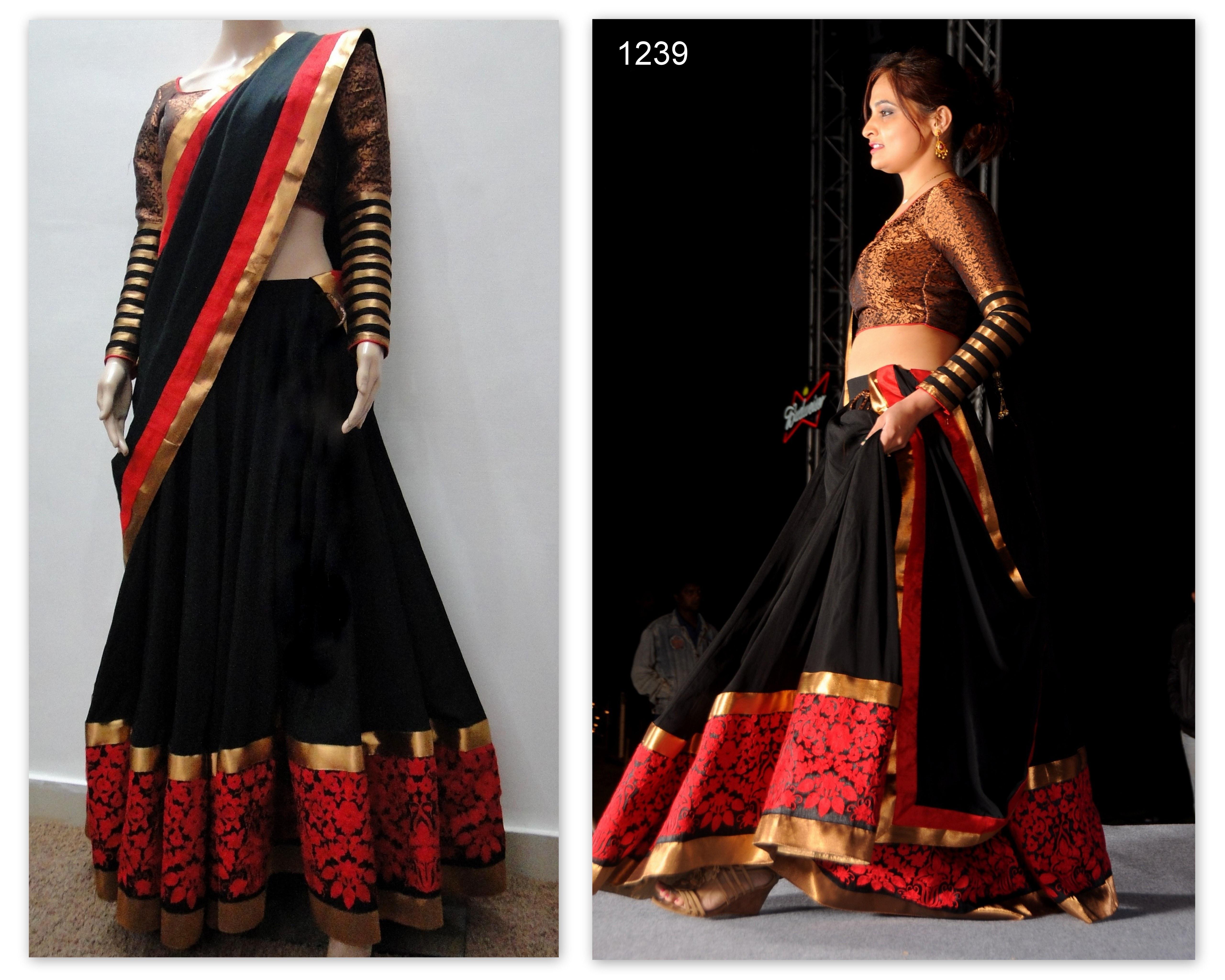 Craftsvilla Com Pashmina Suits: Designer Red And Black Lehenga-Online Shopping