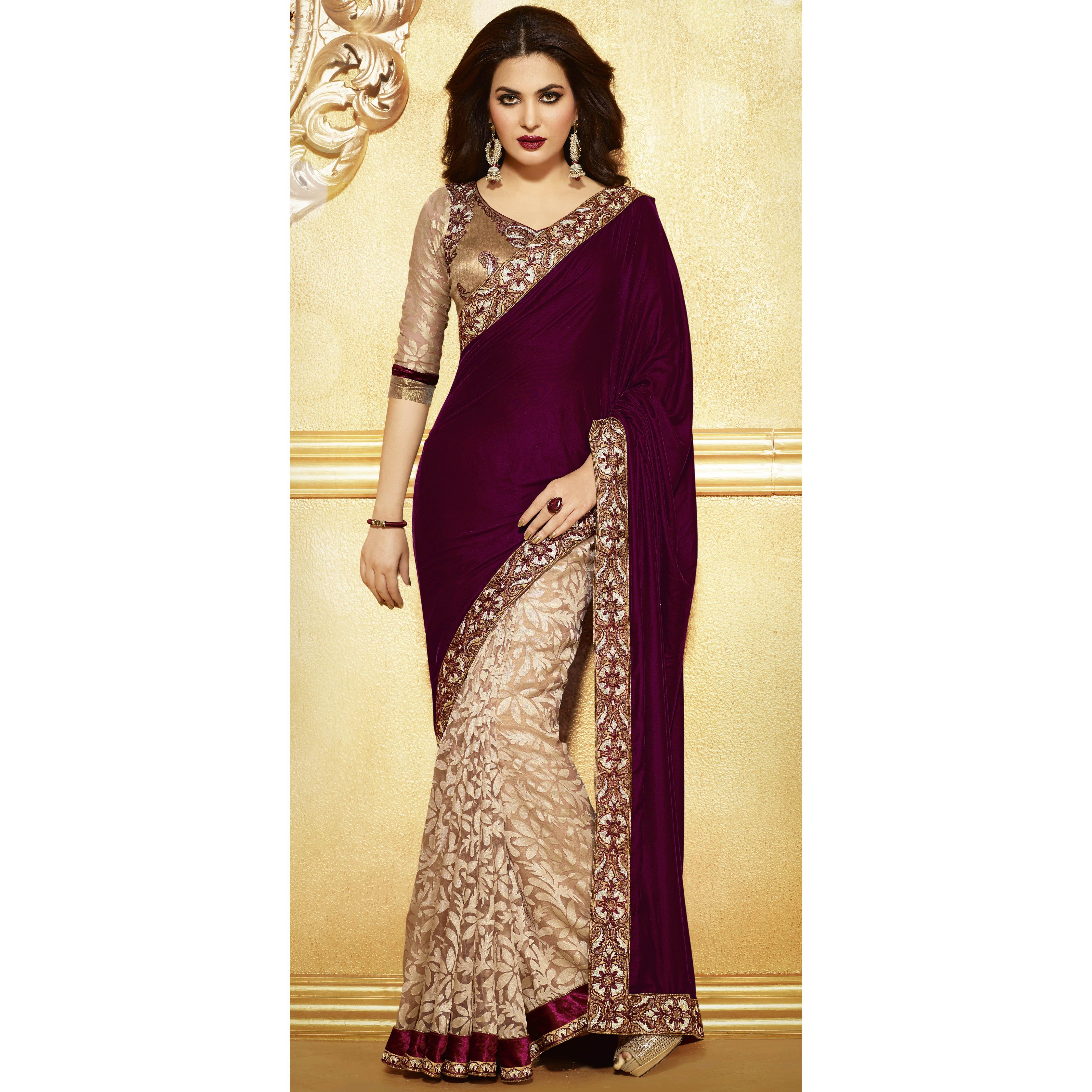 Craftsvilla Com Pashmina Suits: Classic Half-Half Saree-Online Shopping