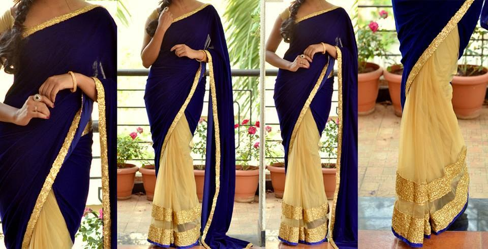 Beautiful Royal Blue and off white color half-half saree with a ...