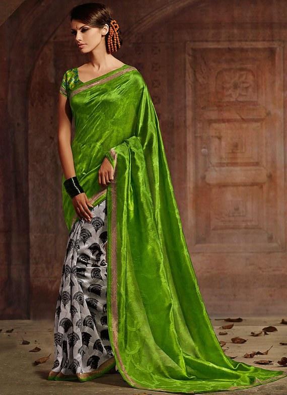 Designer Saree Green Colour Party Wear Saree Sari Wondrous Bhagalpuri Silk Half and Half Saree Indian Wedding Saree Embroidered Saree Sari available at Craftsvilla for Rs.2268