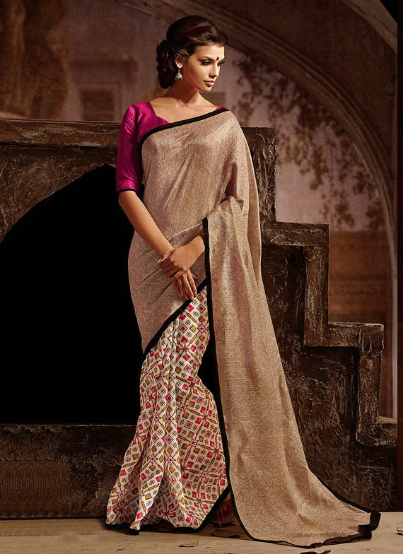 Designer Saree Beige Colour Party Wear Saree Sari Marvelous Bhagalpuri Silk Half and Half Saree Indian Wedding Saree Embroidered Saree Sari available at Craftsvilla for Rs.2268