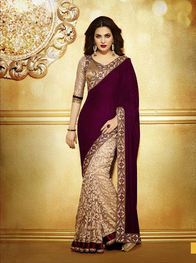 Baño Saree Beige Brasso Saree:Sarees Online Shopping for Women
