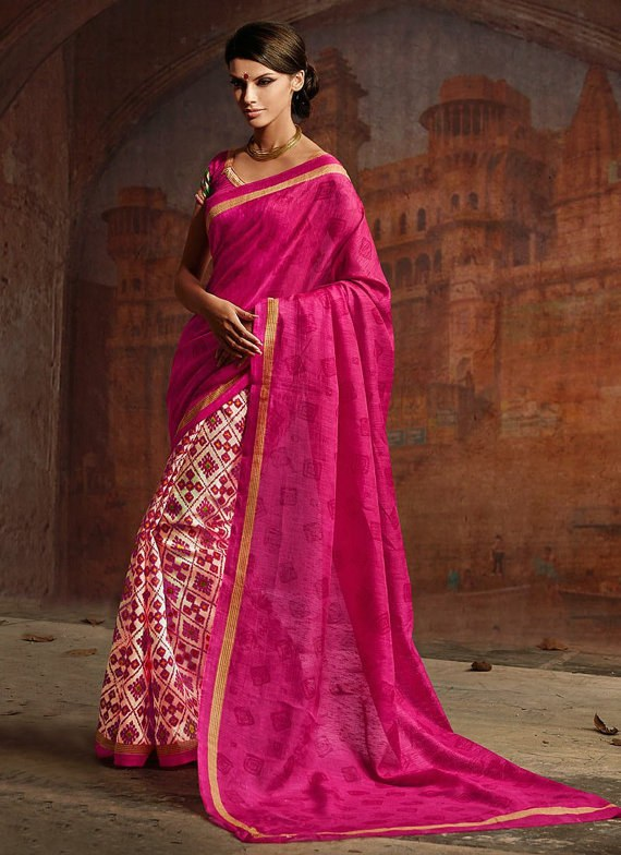 Designer Saree Pink Colour Party Wear Saree Sari Wondrous Bhagalpuri Silk Half and Half Saree Indian Wedding Saree Embroidered Saree Sari available at Craftsvilla for Rs.2268
