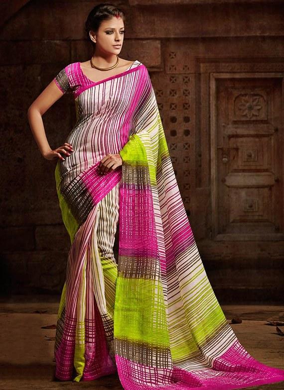 Designer Saree Multicolored Party Wear Saree Sari Adorning Printed Bhagalpuri Silk Saree Indian Wedding Saree Embroidered Saree Sari available at Craftsvilla for Rs.2268