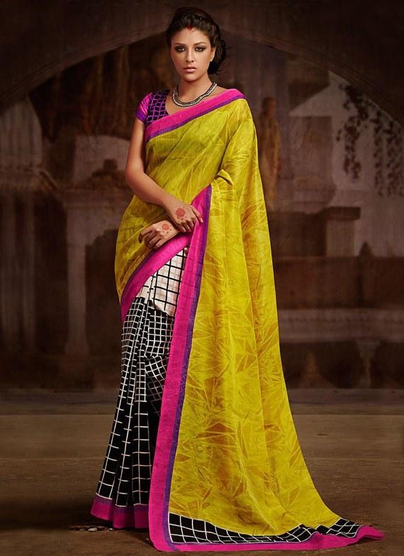 Designer Saree Yellow Colour Party Wear Sari Enthralling Bhagalpuri Silk Half and Half Saree Indian Wedding Saree Embroidered Saree Sari available at Craftsvilla for Rs.2268