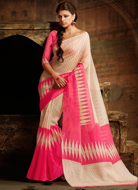 Designer Saree Cream Colour Party Wear Saree Sari Charming Printed Bhagalpuri Silk Saree Indian Wedding Saree Embroidered Saree Sari available at Craftsvilla for Rs.2268