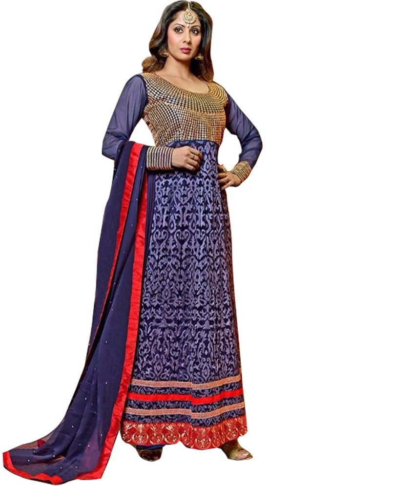 Blue designer georgette floor length embroidered anarkali for Online suit builder