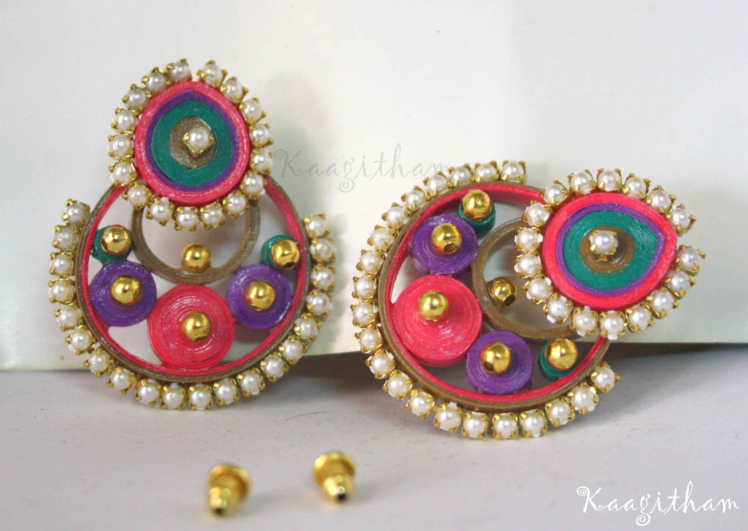 ramleela type quilled wear earrings shopping