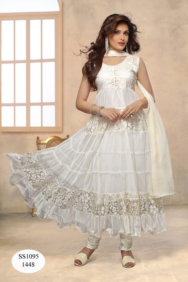 White Kurta Design Designer Long White Anarkali