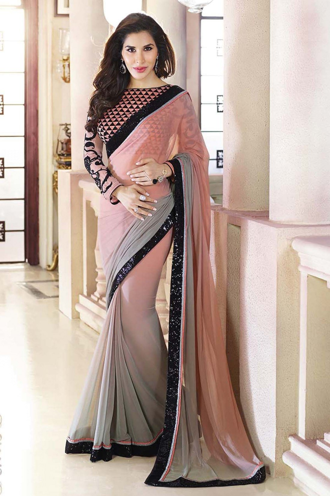 Designer peach and black border work saree online shopping 4 for Luxury online shopping