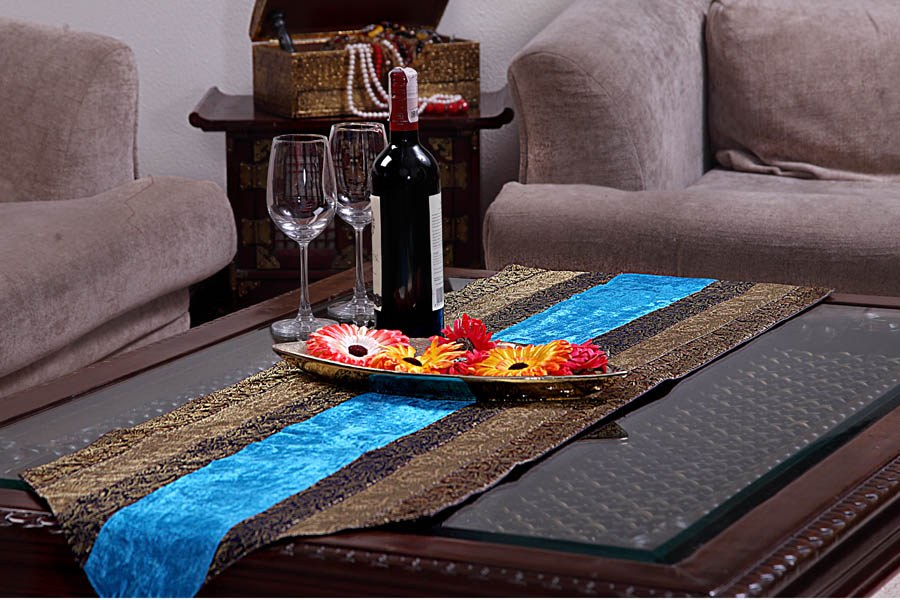 Jodhaa Turquoise Blue Velvet Brocade Large Table Runner
