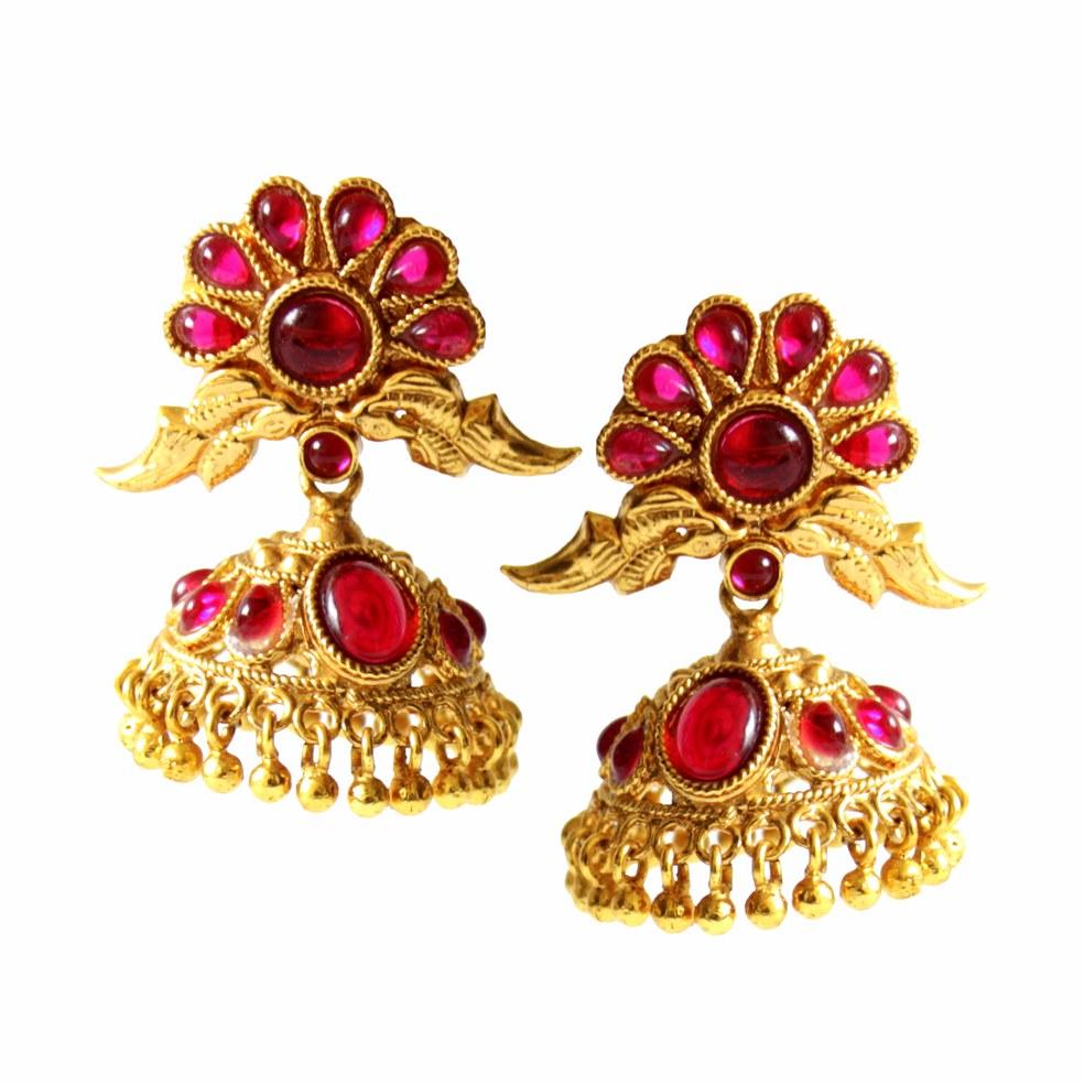 beautiful mini jhumka earrings Gorgeous South indian gold ...