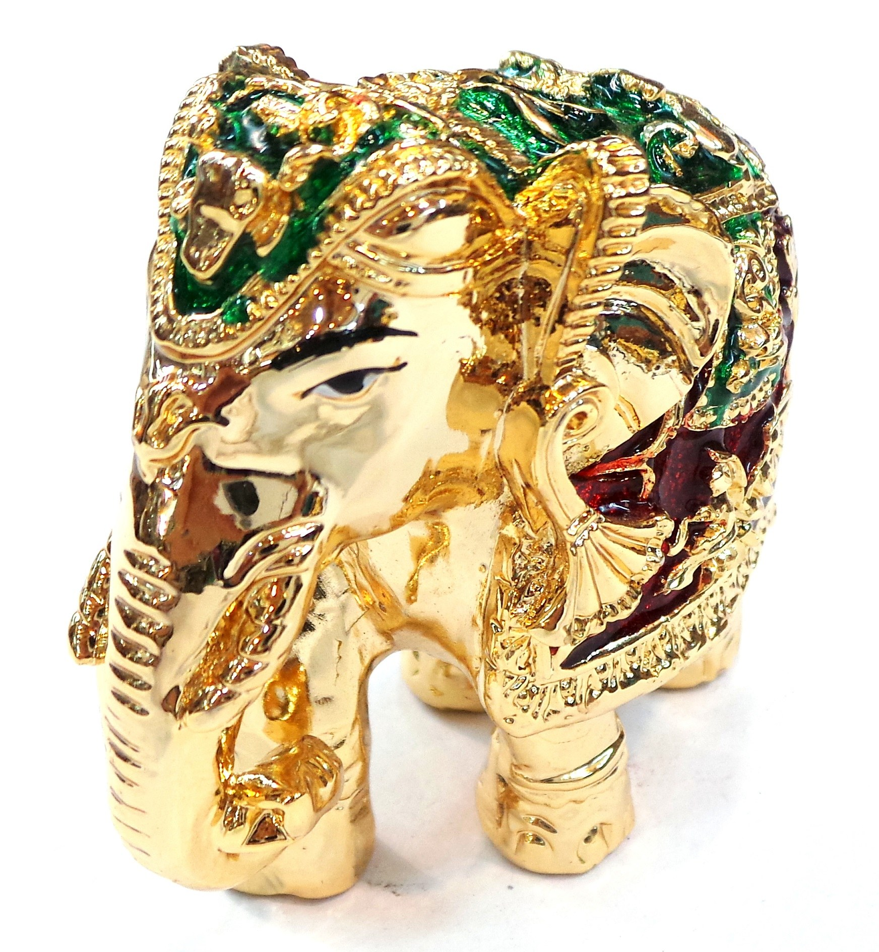 Elephant golden red green small online shopping for Art decoration international pvt ltd