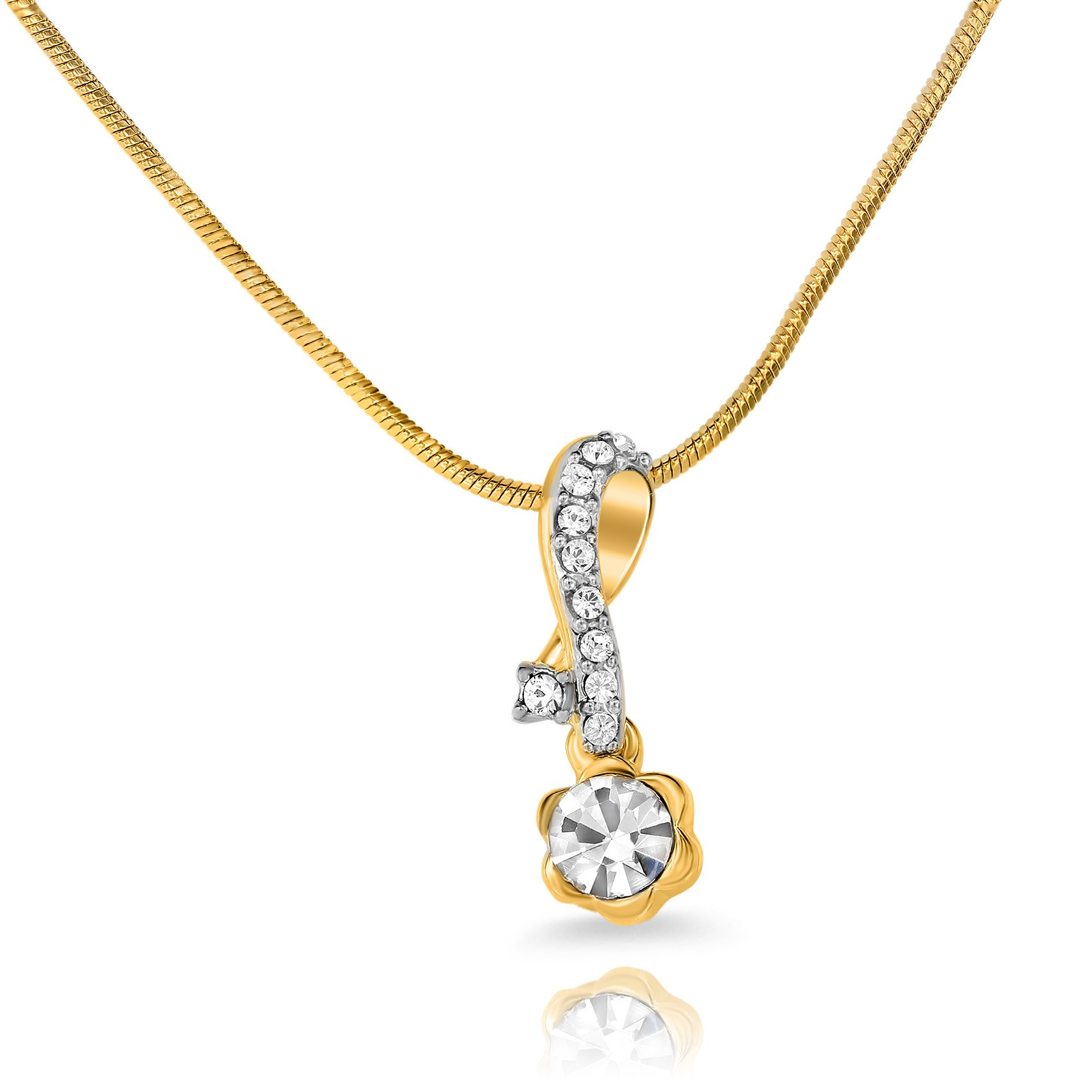 Mahi Gold Plated Pristine Beauty Pendant With Crystals