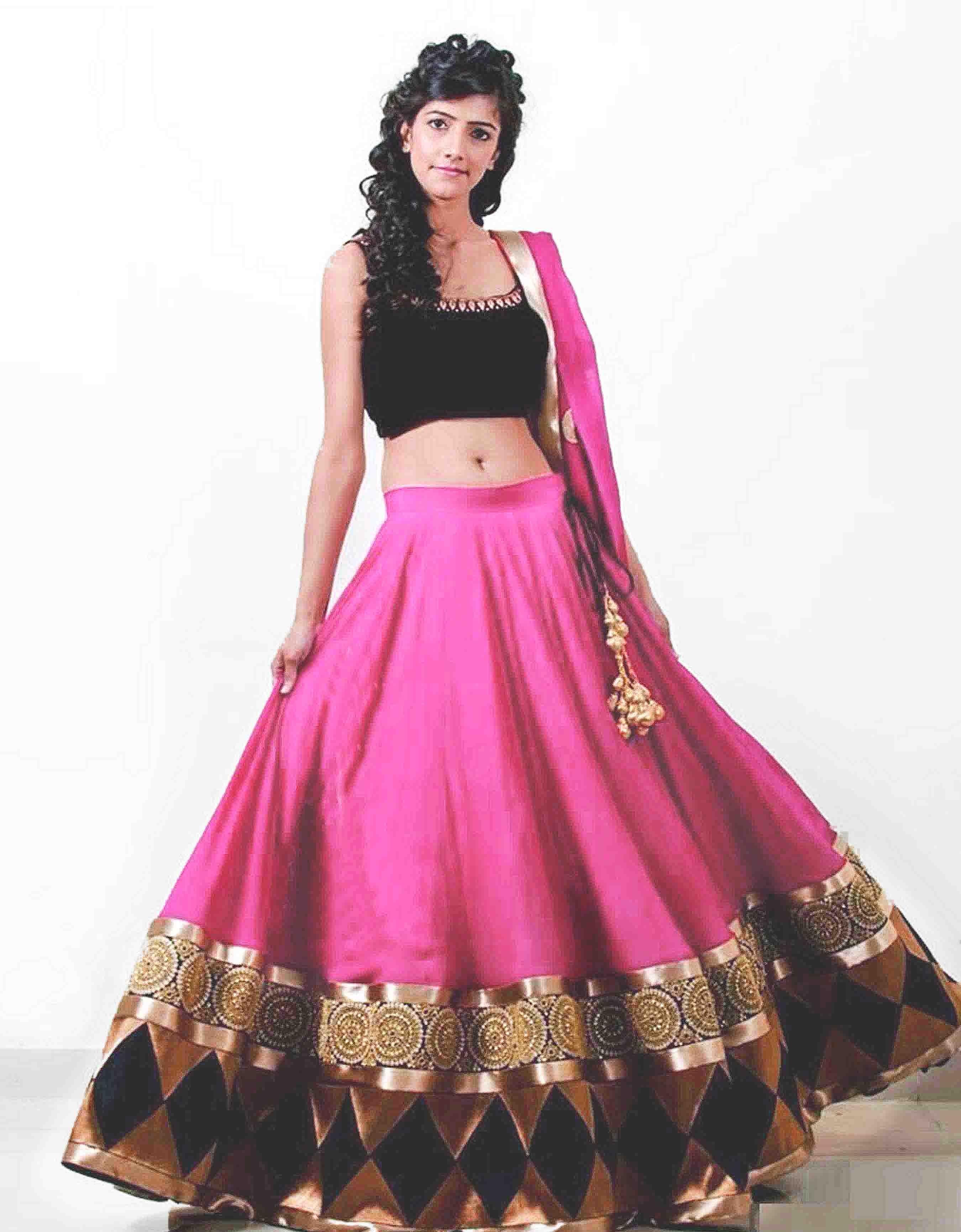 Designer Pink Georgette Lehenga Choli With Velvet Blouse