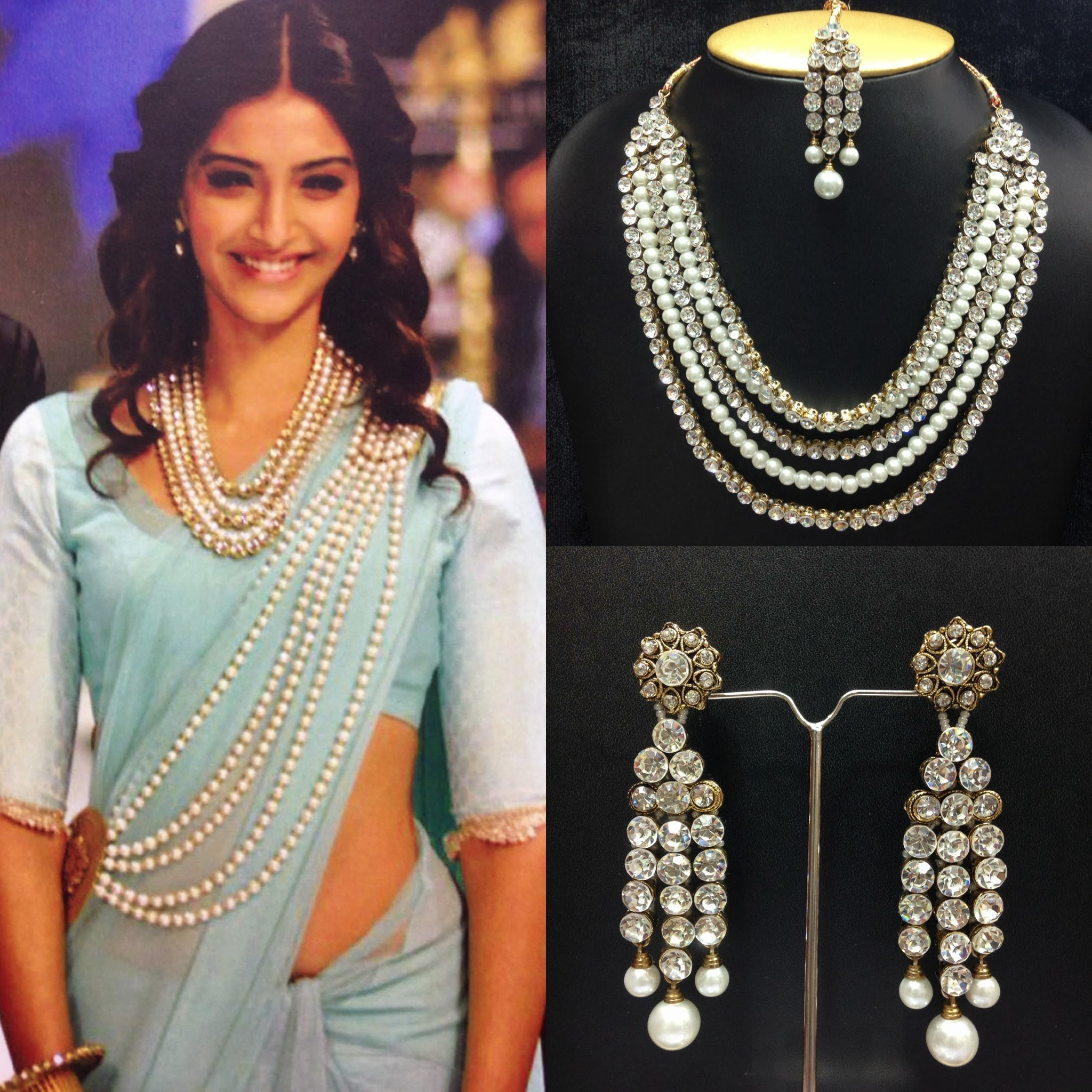Quot Bollywood Necklace Set With Saree Belt In Pearls Quot Online
