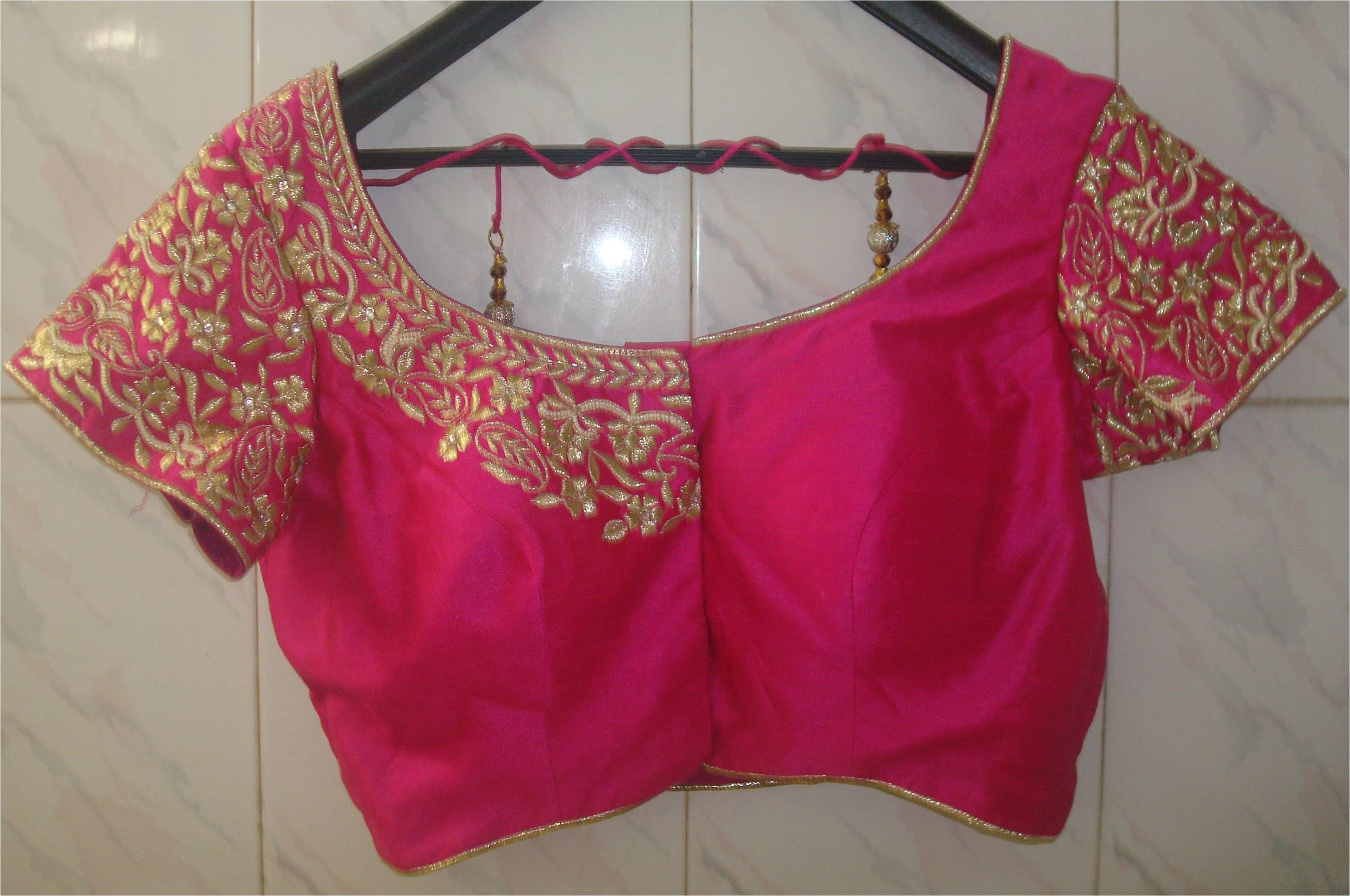 Pink hand embroidered designer ready made saree blouse by
