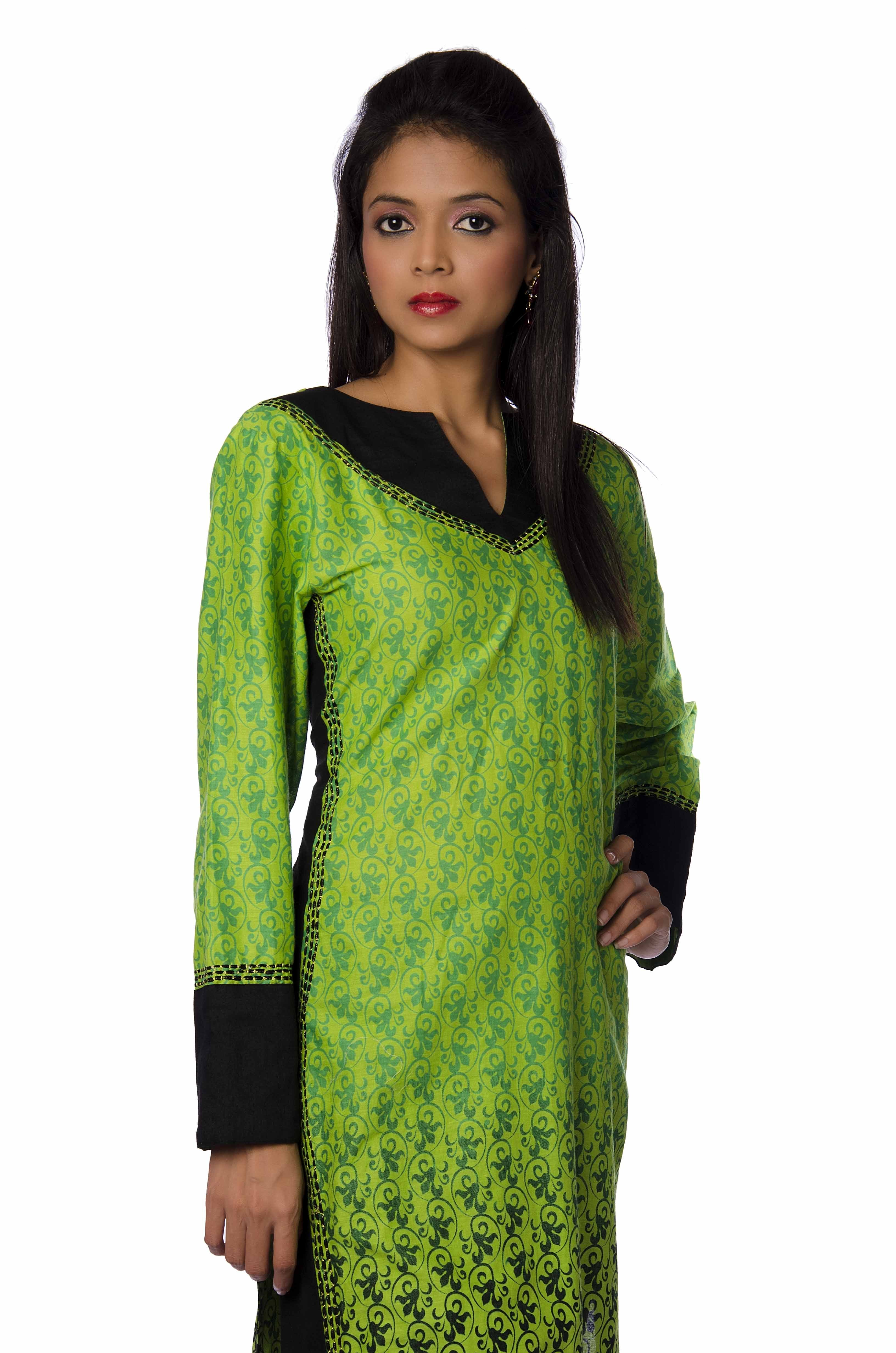 Long Top With Black Blockings In Lime Green Kurti Muhenera Presents Designer Urrmee Kapoor Made