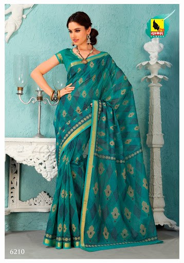 Saree Rama Green Colour In Cotton Machine Embroidery