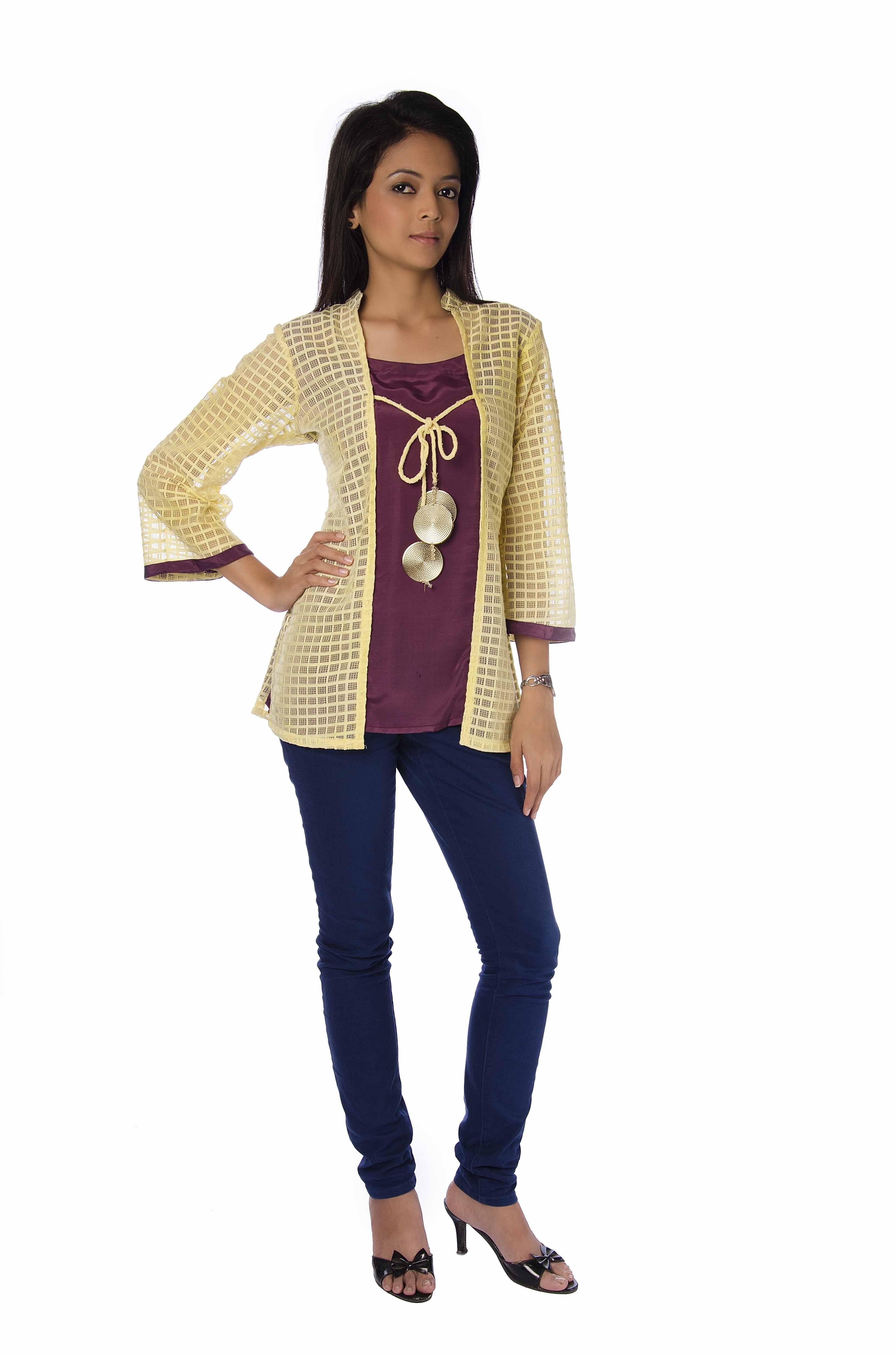 Jacket Top With Danglers Muhenera Presents Designer Kurtis Uk009-Online Shopping-