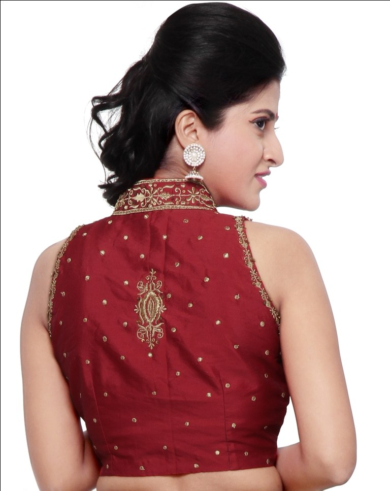 Stand Collar Blouse Designs Images : Stand collar red silk saree blouse cl np muhenera