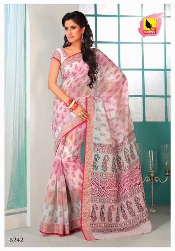 Saree Pink And White Colour In Cotton Machine Embroidery