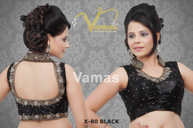 Blouse Stand Neck Designs : Collar embroidered sleeveless saree blouse b black