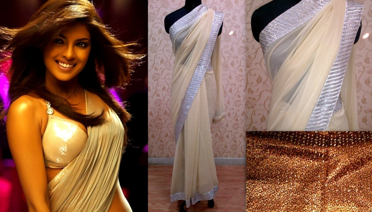 Priyanka Chopra Dostana Cream Saree-Online Shopping-