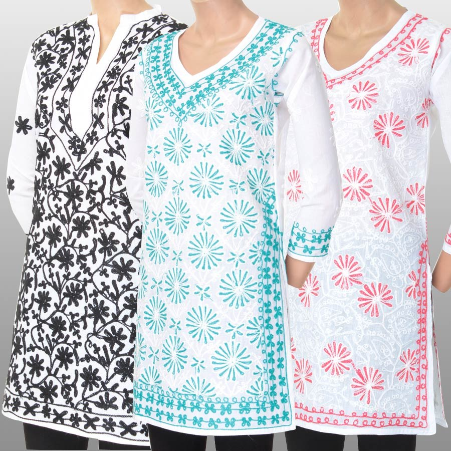 Combo Of Lucknowi Chikan Embroidered Kurtis Online Shopping